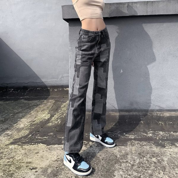 Vintage Straight Dark Jeans With Patches 1 - My Sweet Outfit - eGirl - SoftGirl Clothes Aesthetic - Goth - Grunge - Vintage Black - Y2k - Fashion - Softie