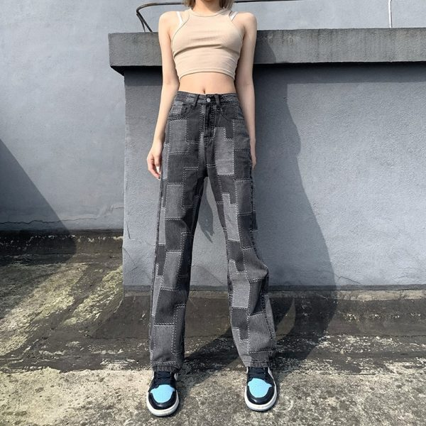 Vintage Straight Dark Jeans With Patches 3 - My Sweet Outfit - eGirl - SoftGirl Clothes Aesthetic - Goth - Grunge - Vintage Black - Y2k - Fashion - Softie