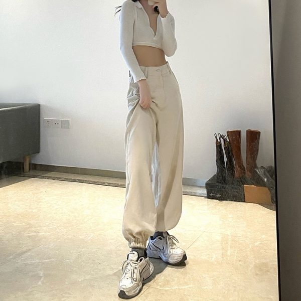 Wide Leg Joggers With High Waist (2) - My Sweet Outfit - eGirl - SoftGirl Clothes Aesthetic - Goth - Grunge - Vintage Black - Y2k - Fashion - Softie