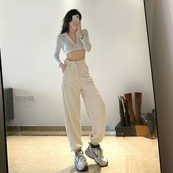Wide Leg Joggers With High Waist (4) - My Sweet Outfit - eGirl - SoftGirl Clothes Aesthetic - Goth - Grunge - Vintage Black - Y2k - Fashion - Softie