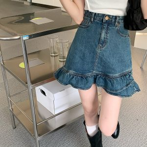 A-Line Ruffled Denim Skirt - My Sweet Outfit - eGirl - SoftGirl Clothes Aesthetic - Goth - Grunge - Vintage Black - Y2k - Harajuku style - Softie 3