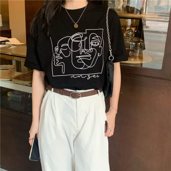 Art Hoe Painting Print T-shirt - My Sweet Outfit - eGirl - SoftGirl Clothes Aesthetic - Goth - Grunge - Vintage Black - Y2k - Harajuku style - Softie 2