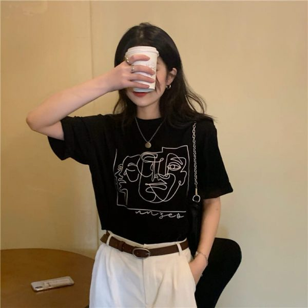 Art Hoe Painting Print T-shirt - My Sweet Outfit - eGirl - SoftGirl Clothes Aesthetic - Goth - Grunge - Vintage Black - Y2k - Harajuku style - Softie 4