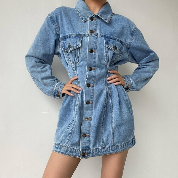 Buttoned Denim Dress With Narrow Waist And Chest Pockets - My Sweet Outfit - eGirl - SoftGirl Clothes Aesthetic - Goth - Grunge - Vintage Black - Y2k - Harajuku style - Softie 2