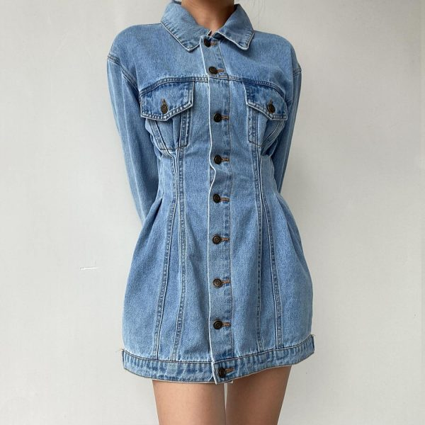 Buttoned Denim Dress With Narrow Waist And Chest Pockets - My Sweet Outfit - eGirl - SoftGirl Clothes Aesthetic - Goth - Grunge - Vintage Black - Y2k - Harajuku style - Softie 3