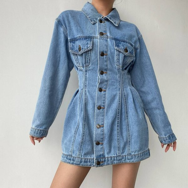 Buttoned Denim Dress With Narrow Waist And Chest Pockets - My Sweet Outfit - eGirl - SoftGirl Clothes Aesthetic - Goth - Grunge - Vintage Black - Y2k - Harajuku style - Softie 4