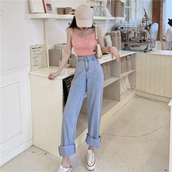 Long Leg Ring Strap Culottes Jeans - My Sweet Outfit - eGirl - SoftGirl Clothes Aesthetic - Goth - Grunge - Vintage Black - Y2k - Harajuku style - Softie 1