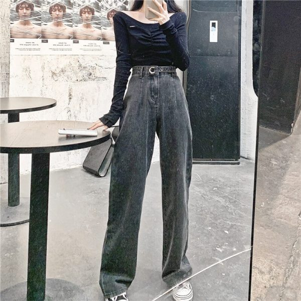 Long Leg Ring Strap Culottes Jeans - My Sweet Outfit - eGirl - SoftGirl Clothes Aesthetic - Goth - Grunge - Vintage Black - Y2k - Harajuku style - Softie 2