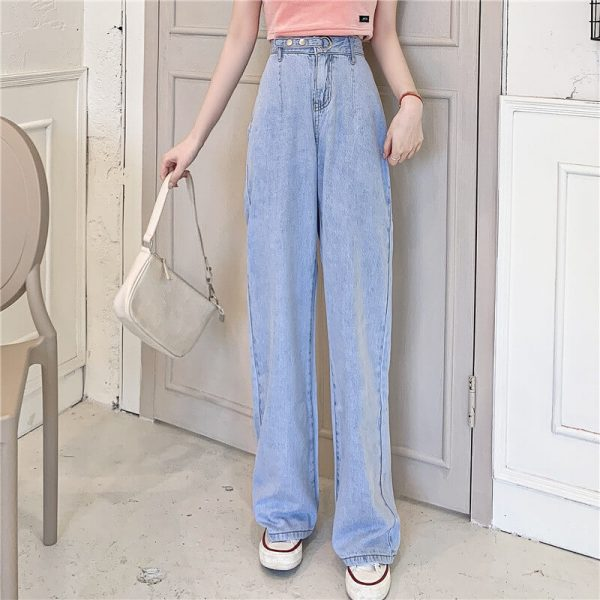 Long Leg Ring Strap Culottes Jeans - My Sweet Outfit - eGirl - SoftGirl Clothes Aesthetic - Goth - Grunge - Vintage Black - Y2k - Harajuku style - Softie 3