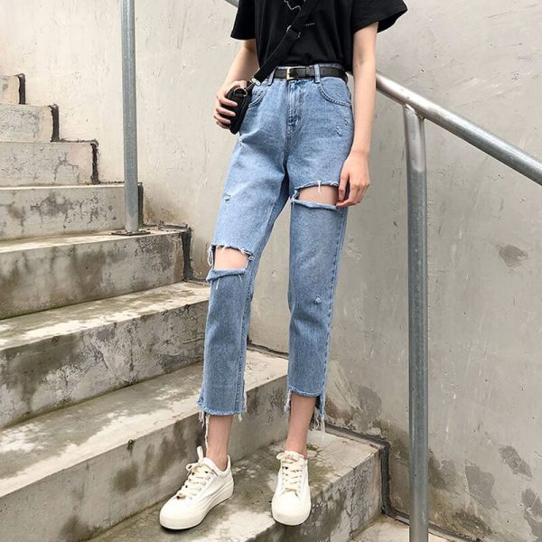 Nine-Point Washed Out Mixed Leg Jeans - My Sweet Outfit - eGirl - SoftGirl Clothes Aesthetic - Goth - Grunge - Vintage Black - Y2k - Harajuku style - Softie 1