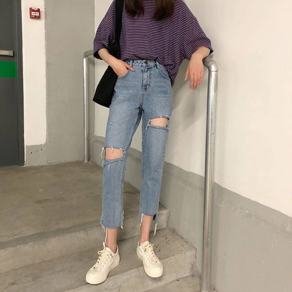 Nine-Point Washed Out Mixed Leg Jeans - My Sweet Outfit - eGirl - SoftGirl Clothes Aesthetic - Goth - Grunge - Vintage Black - Y2k - Harajuku style - Softie 3