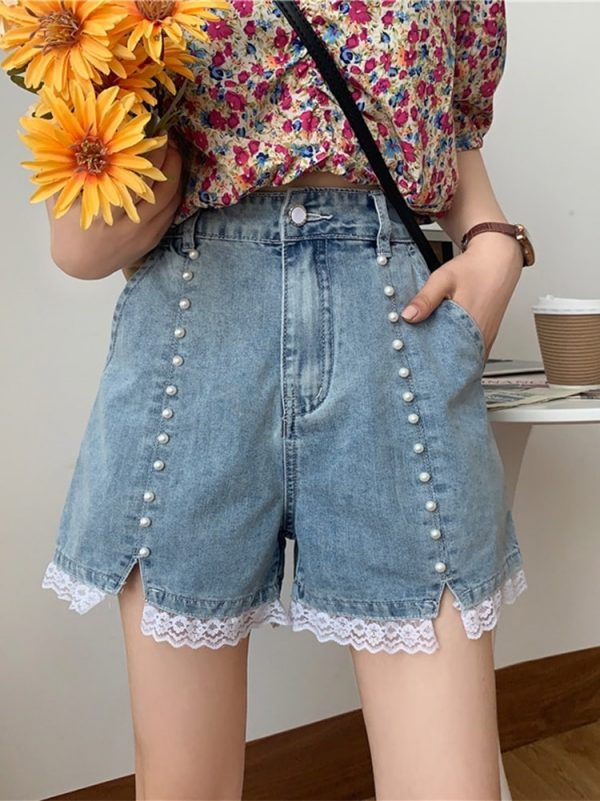Pearl High Waisted Lace Denim Shorts - My Sweet Outfit - eGirl - SoftGirl Clothes Aesthetic - Goth - Grunge - Vintage Black - Y2k - Harajuku style - Softie 1