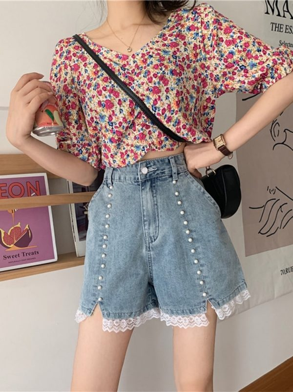 Pearl High Waisted Lace Denim Shorts - My Sweet Outfit - eGirl - SoftGirl Clothes Aesthetic - Goth - Grunge - Vintage Black - Y2k - Harajuku style - Softie 2