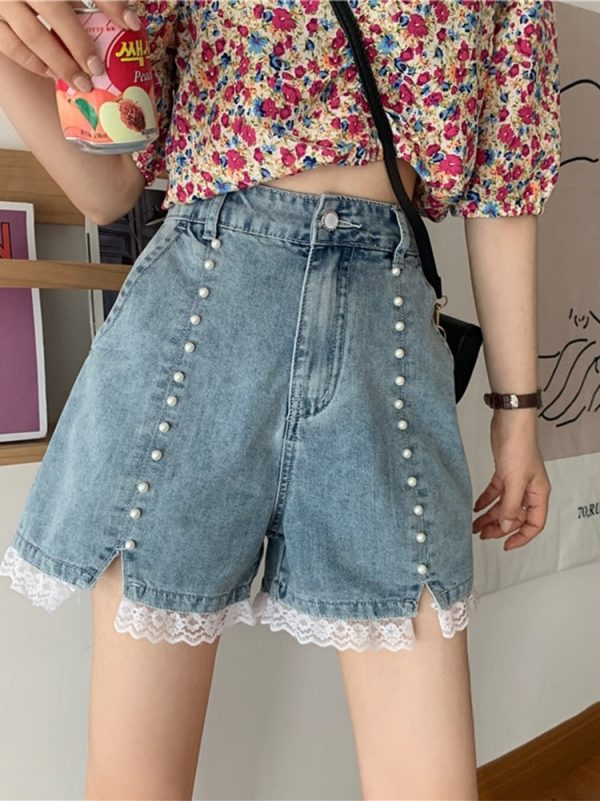 Pearl High Waisted Lace Denim Shorts - My Sweet Outfit - eGirl - SoftGirl Clothes Aesthetic - Goth - Grunge - Vintage Black - Y2k - Harajuku style - Softie 3