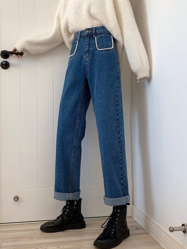 Pearl Imitation Pockets Turn-Up Jeans - My Sweet Outfit - eGirl - SoftGirl Clothes Aesthetic - Goth - Grunge - Vintage Black - Y2k - Harajuku style - Softie 1