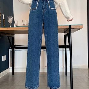 Pearl Imitation Pockets Turn-Up Jeans - My Sweet Outfit - eGirl - SoftGirl Clothes Aesthetic - Goth - Grunge - Vintage Black - Y2k - Harajuku style - Softie (2)