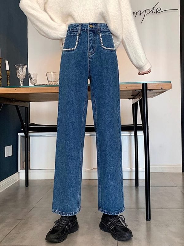 Pearl Imitation Pockets Turn-Up Jeans - My Sweet Outfit - eGirl - SoftGirl Clothes Aesthetic - Goth - Grunge - Vintage Black - Y2k - Harajuku style - Softie 2