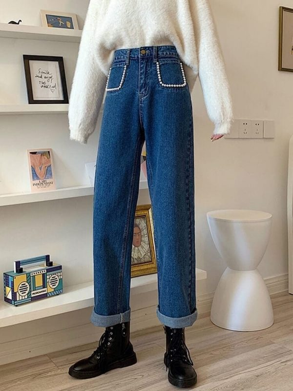 Pearl Imitation Pockets Turn-Up Jeans - My Sweet Outfit - eGirl - SoftGirl Clothes Aesthetic - Goth - Grunge - Vintage Black - Y2k - Harajuku style - Softie 3