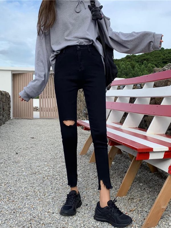 Ripped Knee Skinny Black Women`s Jeans - My Sweet Outfit - eGirl - SoftGirl Clothes Aesthetic - Goth - Grunge - Vintage Black - Y2k - Harajuku style - Softie (1)