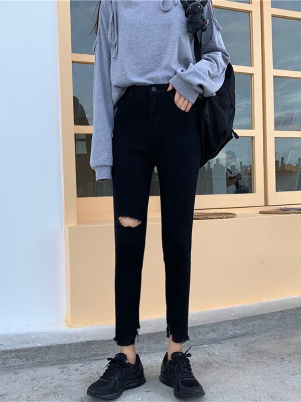 Ripped Knee Skinny Black Women`s Jeans - My Sweet Outfit - eGirl - SoftGirl Clothes Aesthetic - Goth - Grunge - Vintage Black - Y2k - Harajuku style - Softie (3)