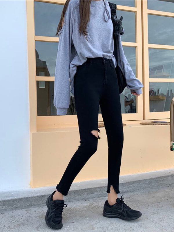 Ripped Knee Skinny Black Women`s Jeans - My Sweet Outfit - eGirl - SoftGirl Clothes Aesthetic - Goth - Grunge - Vintage Black - Y2k - Harajuku style - Softie