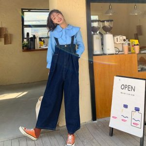 Wide Legs And Large Pockets Jumpsuit - My Sweet Outfit - eGirl - SoftGirl Clothes Aesthetic - Goth - Grunge - Vintage Black - Y2k - Harajuku style - Softie 1