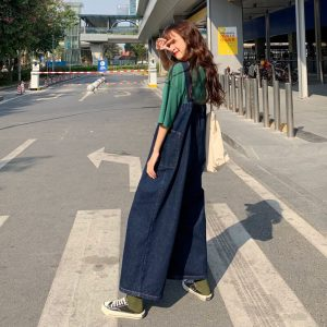 Wide Legs And Large Pockets Jumpsuit - My Sweet Outfit - eGirl - SoftGirl Clothes Aesthetic - Goth - Grunge - Vintage Black - Y2k - Harajuku style - Softie (2)