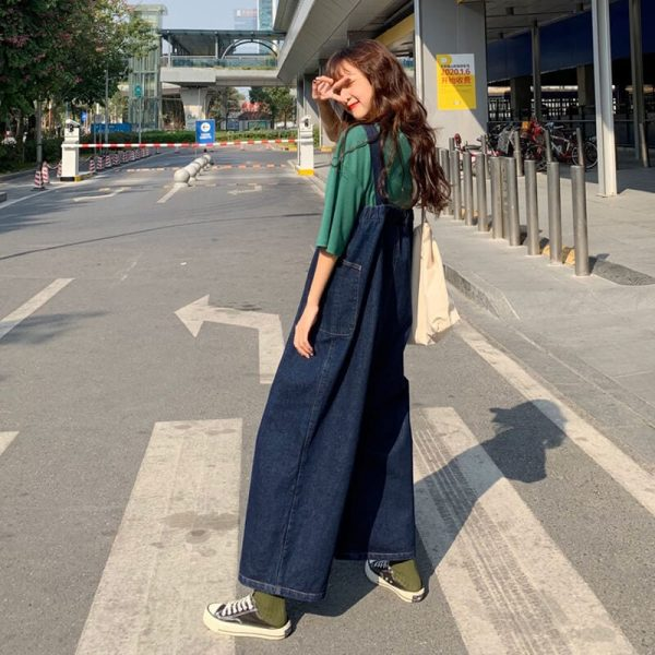 Wide Legs And Large Pockets Jumpsuit - My Sweet Outfit - eGirl - SoftGirl Clothes Aesthetic - Goth - Grunge - Vintage Black - Y2k - Harajuku style - Softie 2