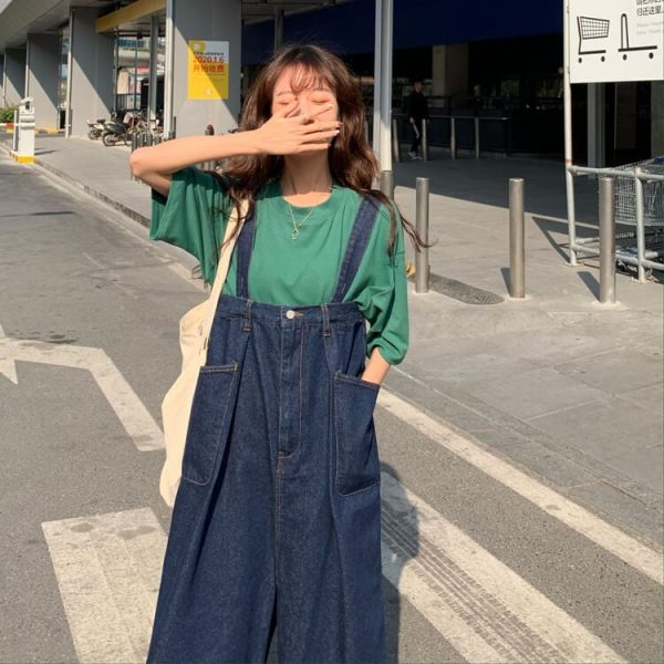 Wide Legs And Large Pockets Jumpsuit - My Sweet Outfit - eGirl - SoftGirl Clothes Aesthetic - Goth - Grunge - Vintage Black - Y2k - Harajuku style - Softie 4