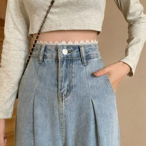 Arrows And Ruffles Wide Washed Jeans - My Sweet Outfit - eGirl - SoftGirl Clothes Aesthetic - Goth - Grunge - Vintage Black - Y2k - Harajuku style - Softie 1