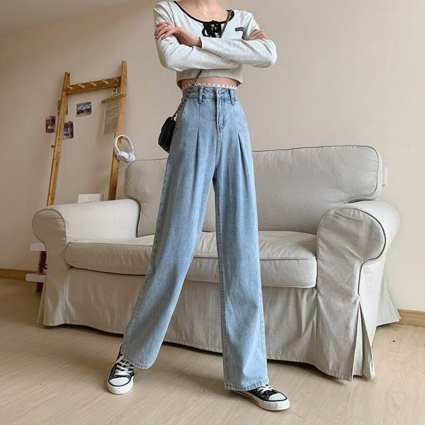 Arrows And Ruffles Wide Washed Jeans - My Sweet Outfit - eGirl - SoftGirl Clothes Aesthetic - Goth - Grunge - Vintage Black - Y2k - Harajuku style - Softie 4