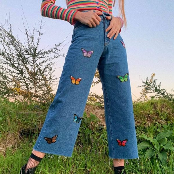 Butterfly Aesthetic Ragged Wide-leg Jeans - My Sweet Outfit - eGirl - SoftGirl Clothes Aesthetic - Goth - Grunge - Vintage Black - Y2k - Harajuku style - Softie 1