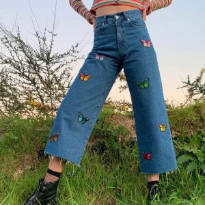 Butterfly Aesthetic Ragged Wide-leg Jeans - My Sweet Outfit - eGirl - SoftGirl Clothes Aesthetic - Goth - Grunge - Vintage Black - Y2k - Harajuku style - Softie 2