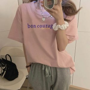 Courage Lettering Print Oversized T-shirt - My Sweet Outfit - eGirl - SoftGirl Clothes Aesthetic - Goth - Grunge - Vintage Black - Y2k - Harajuku style - Softie 1