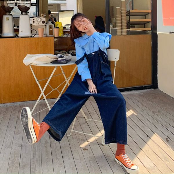 Denim Overall Onesie Korean Style - My Sweet Outfit - eGirl - SoftGirl Clothes Aesthetic - Goth - Grunge - Vintage Black - Y2k - Harajuku style - Softie 1