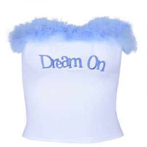 Dream On Fuzzy Fringe Tube Crop Top - My Sweet Outfit - eGirl - SoftGirl Clothes Aesthetic - Goth - Grunge - Vintage Black - Y2k - Harajuku style - Softie 2