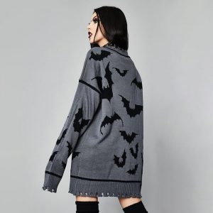 Gothic Dark Bat Pattern Long All-match Pullover - My Sweet Outfit - eGirl - SoftGirl Clothes Aesthetic - Goth - Grunge - Vintage Black - Y2k - Harajuku style - Softie 1