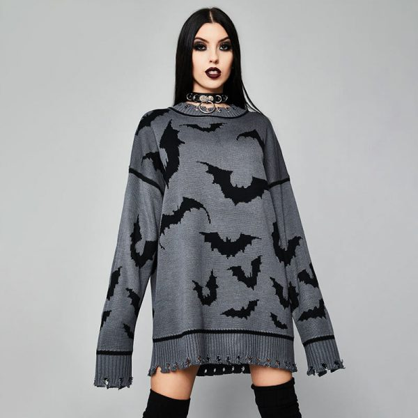 Gothic Dark Bat Pattern Long All-match Pullover - My Sweet Outfit - eGirl - SoftGirl Clothes Aesthetic - Goth - Grunge - Vintage Black - Y2k - Harajuku style - Softie 2