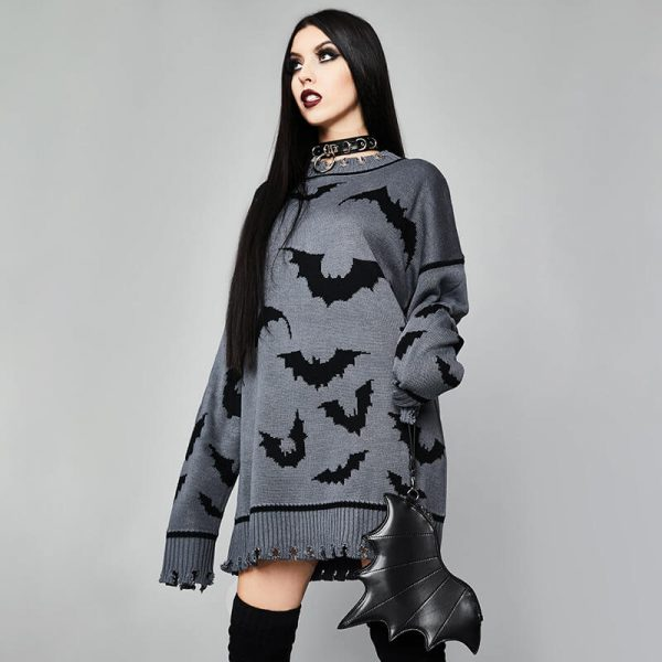 Gothic Dark Bat Pattern Long All-match Pullover - My Sweet Outfit - eGirl - SoftGirl Clothes Aesthetic - Goth - Grunge - Vintage Black - Y2k - Harajuku style - Softie 3