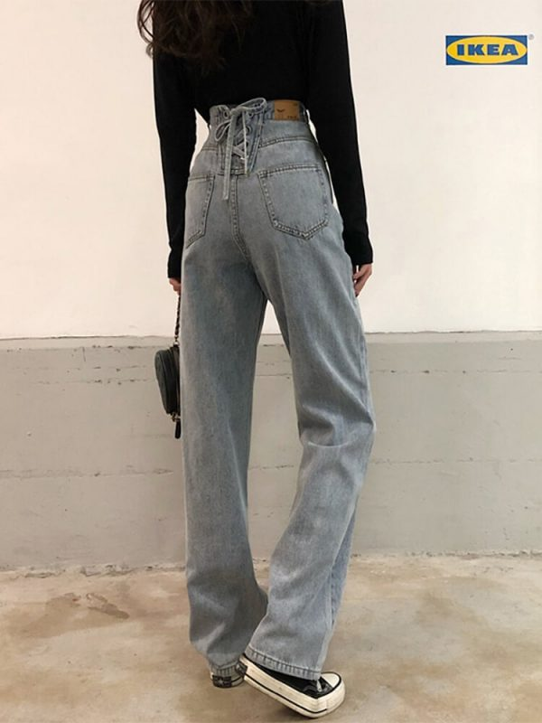 Loin Ties Wide Long Leg Jeans - My Sweet Outfit - eGirl - SoftGirl Clothes Aesthetic - Goth - Grunge - Vintage Black - Y2k - Harajuku style - Softie 3