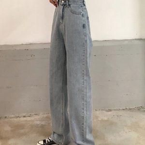 Loin Ties Wide Long Leg Jeans - My Sweet Outfit - eGirl - SoftGirl Clothes Aesthetic - Goth - Grunge - Vintage Black - Y2k - Harajuku style - Softie 4
