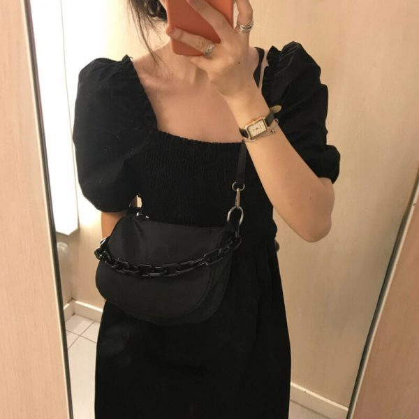 Metal Chain Messenger Black Bag - My Sweet Outfit - eGirl - SoftGirl Clothes Aesthetic - Goth - Grunge - Vintage Black - Y2k - Harajuku style - Softie 1