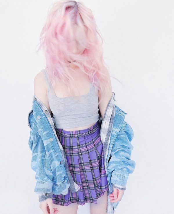Plaid College Doll Style Purple Skirt - My Sweet Outfit - eGirl - SoftGirl Clothes Aesthetic - Goth - Grunge - Vintage Black - Y2k - Harajuku style - Softie 2