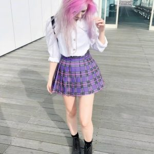 Plaid College Doll Style Purple Skirt - My Sweet Outfit - eGirl - SoftGirl Clothes Aesthetic - Goth - Grunge - Vintage Black - Y2k - Harajuku style - Softie 3