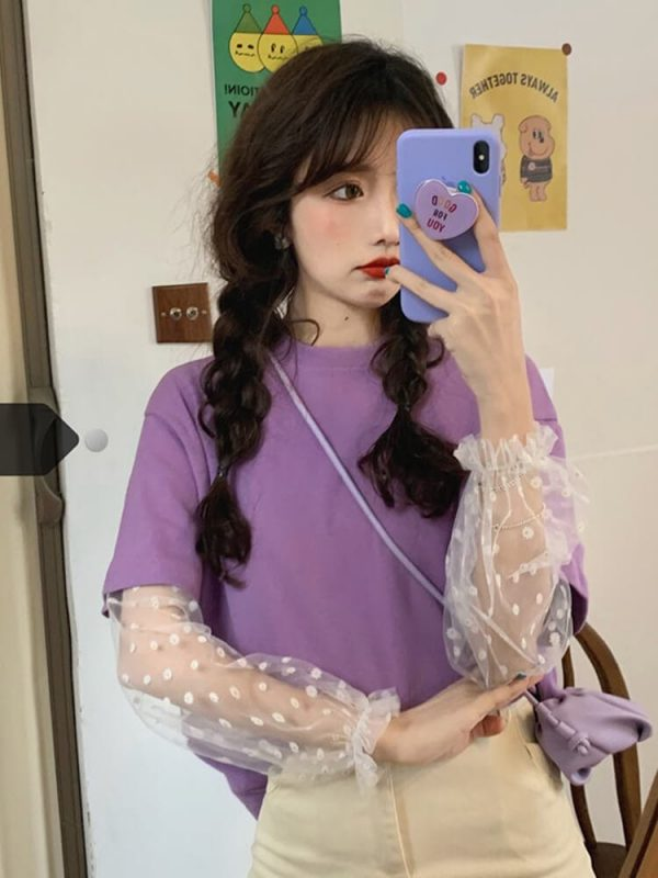 Puff Polka Dot Sleeve Upper Tee - My Sweet Outfit - eGirl - SoftGirl Clothes Aesthetic - Goth - Grunge - Vintage Black - Y2k - Harajuku style - Softie 1