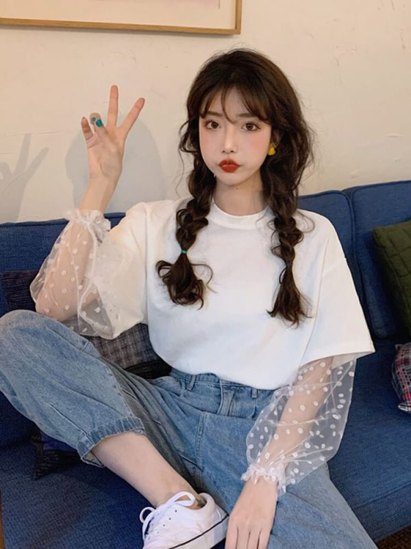 Puff Polka Dot Sleeve Upper Tee - My Sweet Outfit - eGirl - SoftGirl Clothes Aesthetic - Goth - Grunge - Vintage Black - Y2k - Harajuku style - Softie 3