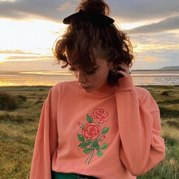Too Cute to Care Rose Embroidery Sweatshirt 3 - My Sweet Outfit - eGirl - SoftGirl Clothes Aesthetic - Goth - Grunge - Vintage Black - Y2k - Harajuku style - Softie