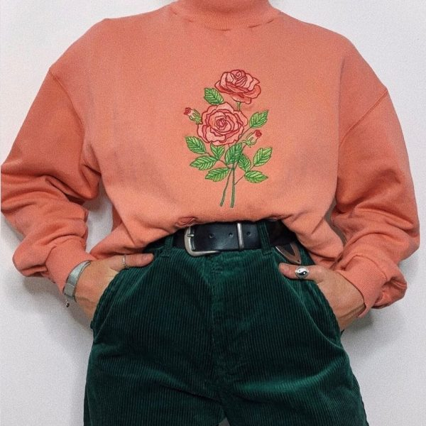 Too Cute to Care Rose Embroidery Sweatshirt 4 - My Sweet Outfit - eGirl - SoftGirl Clothes Aesthetic - Goth - Grunge - Vintage Black - Y2k - Harajuku style - Softie
