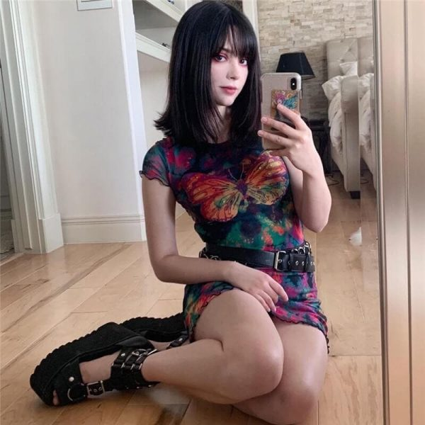 Translucent Tie-Dye Skirt With Fungus - My Sweet Outfit - eGirl - SoftGirl Clothes Aesthetic - Goth - Grunge - Vintage Black - Y2k - Harajuku style - Softie 2