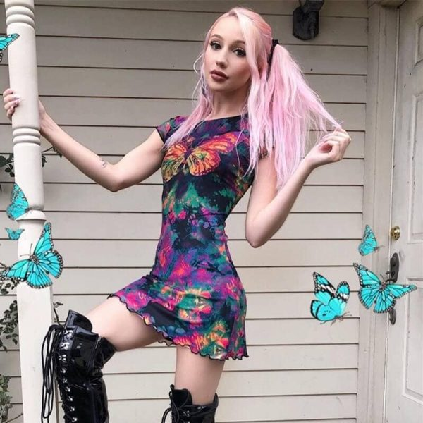 Translucent Tie-Dye Skirt With Fungus - My Sweet Outfit - eGirl - SoftGirl Clothes Aesthetic - Goth - Grunge - Vintage Black - Y2k - Harajuku style - Softie 3